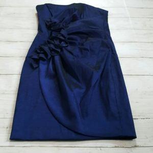 Xscape taffeta royal blue strapless mini dress